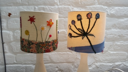 Appliqued & Hand Embroidered Lampshades